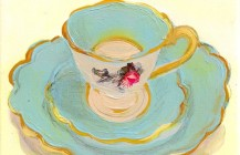 Blue Teacup, Saucer, and Plate